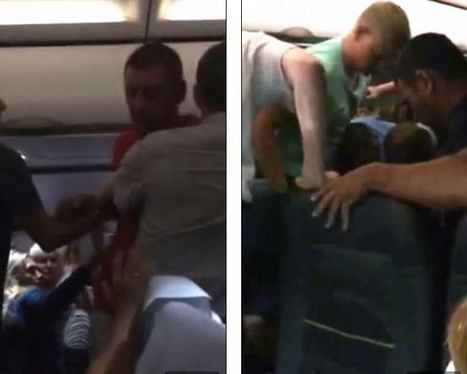 VIDEO: दारु घेऊन विमानात घातला गोंधळ, इतर प्रवाशांनी बेदम चोप देऊन हात-पाय बांधले विदेश,International - Divya Marathi