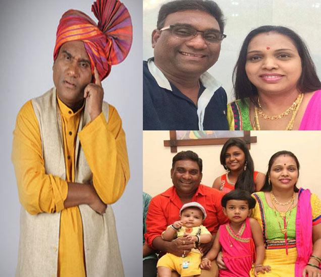 फाइल फोटोः भाऊ कदम, पत्नी आणि तिन्ही मुलींसोबत - Divya Marathi