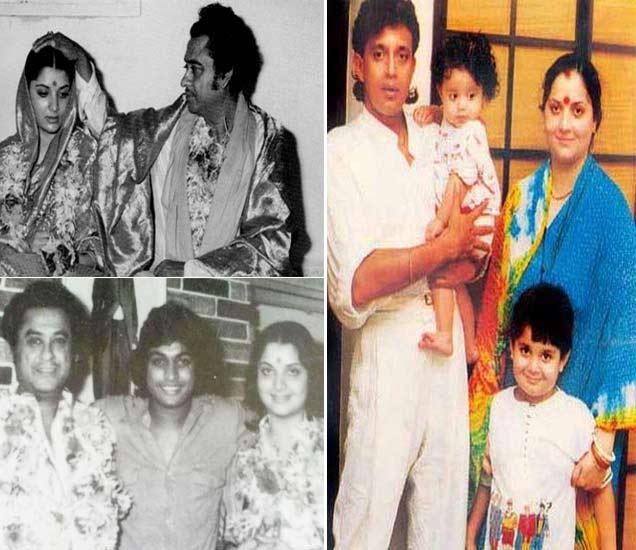 डावीकडे - तिसरी पत्नी योगिता बालीसोबत किशोर कुमार, उजवीकडे - मिथून चक्रवर्ती आणि दोन मुलांसोबत योगिता बाली - Divya Marathi