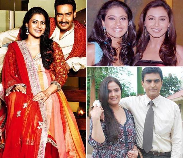 फाइल फोटो : काजोल पती अजय देवगण आणि  चुलत बहीण राणी मुखर्जीसोबत, उजवीकडे खाली - काजोलचा मावस भाऊ मोहनीश बहल आणि त्याची पत्नी एकता - Divya Marathi