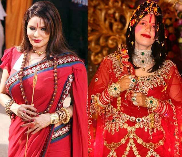 पूनम झावर (डावीकडे), राधे माँ (उजवीकडे) - Divya Marathi