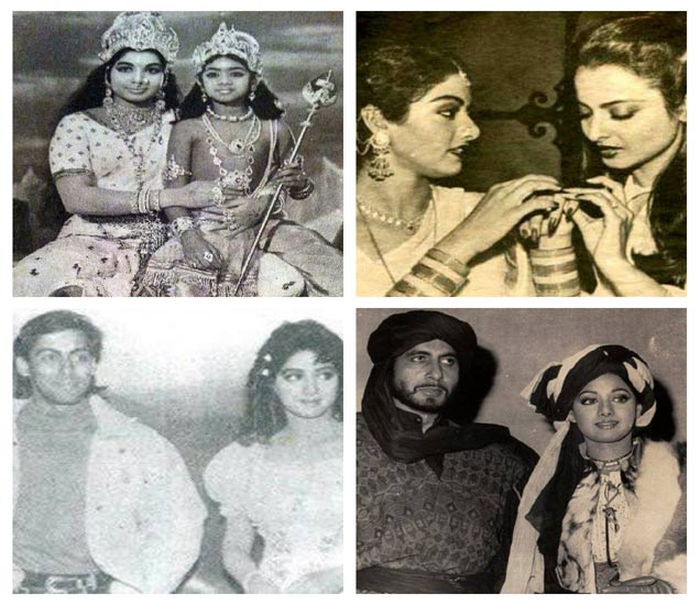 श्रीदेवीची जुनी छायाचित्र... यामध्ये ती अभिनेत्री जयललिता, सलमान खान, रेखा आणि अमिताभ बच्चन यांच्यासोबत दिसत आहे. - Divya Marathi