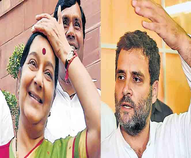 मोदींनी किती पैसे दिले?-राहुल; क्वात्रोचीकडून किती घेतले?-सुषमा|देश,National - Divya Marathi
