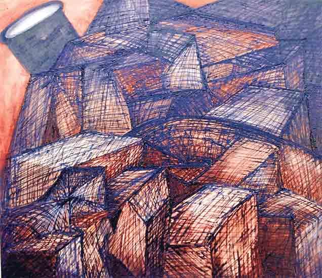 'राक्षसी बेट, शहर चित्रमालिका,२०१५, कँनव्हासवर तैलरंग, संजीव खांडेकर व वैशाली नारकर. - Divya Marathi