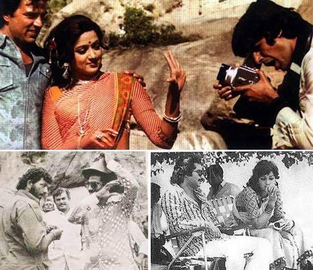 [धर्मेन्द्र आणि हेमा मालिनी यांचा फोटो क्लिक करताना अमिताभ बच्चन (वर), खाली अमजद खान, संजीव कुमार आणि रमेश सिप्पी (उजवीकडे), रमेश सिप्पी हेमा मालिनीसोबत (डावीकडे)] - Divya Marathi