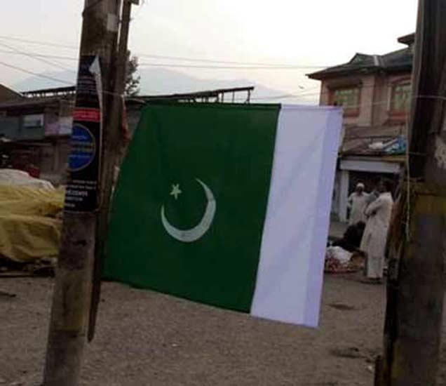 श्रीनगरमध्ये लावण्यात आलेला पाकिस्तानी झेंडा. - Divya Marathi