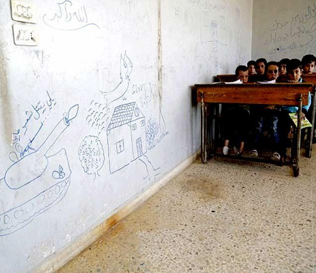 सिरिया : शाळांच्या भिंतीवर रेखाटले  मुलांच्या मनामध्ये असलेल्या दहशतीचे चित्र|विदेश,International - Divya Marathi