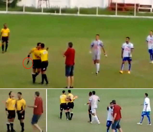 ब्राझील- प्लेयरने मारली किक तर रेफरीने मैदानावरच रोखले रिव्हॉल्व्हर स्पोर्ट्स,Sports - Divya Marathi