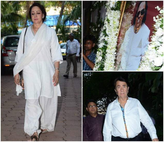 रवींद्र जैन यांच्या शोकसभेत हेमामालिनी आणि रणधीर कपूर - Divya Marathi
