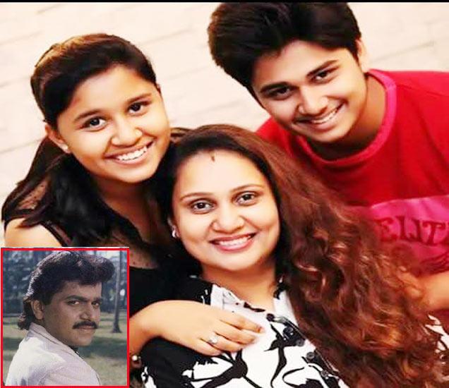 मुलगी स्वानंदी आणि मुलगा अभिनयसोबत प्रिया बेर्डे, इनसेटमध्ये लक्ष्मीकांत बेर्डे - Divya Marathi