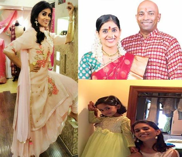 पती नचिकेत आणि मुलगी कावेरीसोबत सोनाली कुलकर्णी - Divya Marathi
