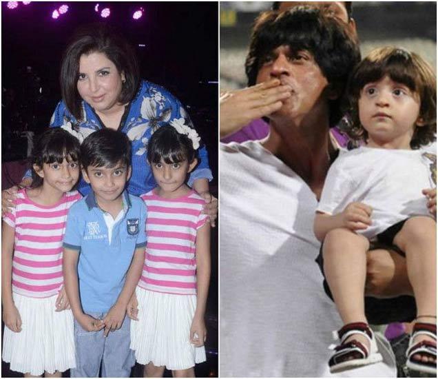 आपल्या तिळ्या मुलांसोबत फराह खान, अबरामसोबत शाहरुख खान - Divya Marathi