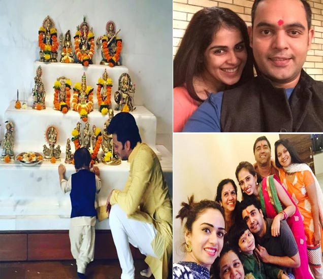 डावीकडे -  देवदर्शन घेताना रितेश आणि त्याचा चिमुकला रिआन, उजवीकडे - (वर) - भाऊबीजेला आपल्या भावासोबत जेनेलिया देशमुख, (खाली) - कुटुंबीयांसोबत सेल्फी घेताना अमृता खानविलकर. - Divya Marathi