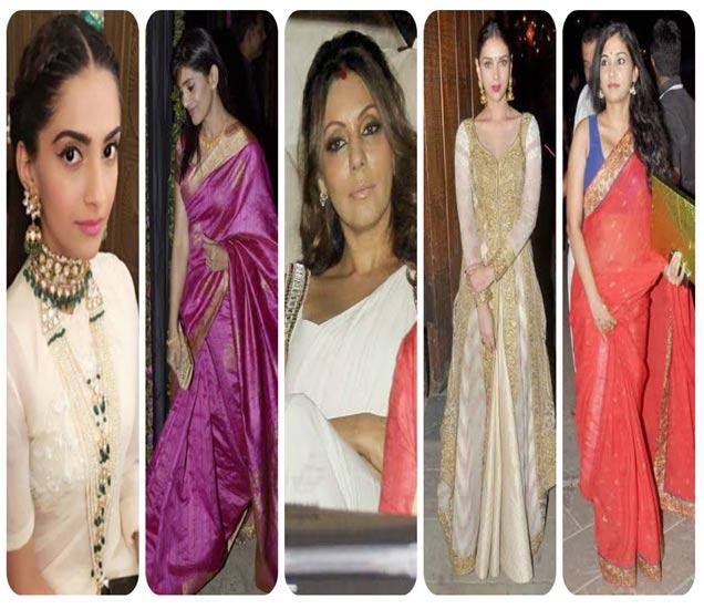 डावीकडून - सोनम कपूर, सोनाली कुलकर्णी, गौरी खान, अदिती राव हैदरी, उषा जाधव - Divya Marathi