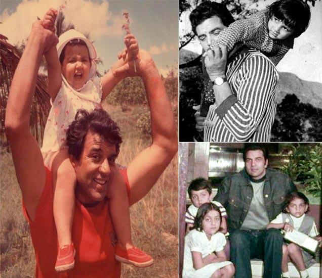 फाइल फोटो: डावीकडून मुलगी ईशा देओल, उजवीकडून मुलगी अजेता, मुलगा बॉबी देओल, मुलगी विजेतासोबत धर्मेंद्र - Divya Marathi