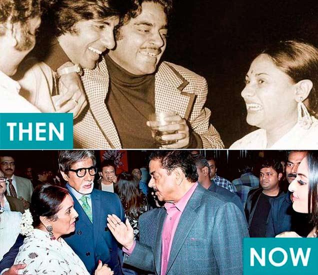 वरती डावीकडून, एक मित्रा, अमिताभ बच्चन आणि जया बच्चनसोबत शत्रुघ्न सिन्हा. खाली डावीकडून, पत्नी पूनम, मित्र अमिताभ बच्चन आणि मुलगी सोनाक्षी सिन्हासोबत शत्रुघ्न सिन्हा - Divya Marathi