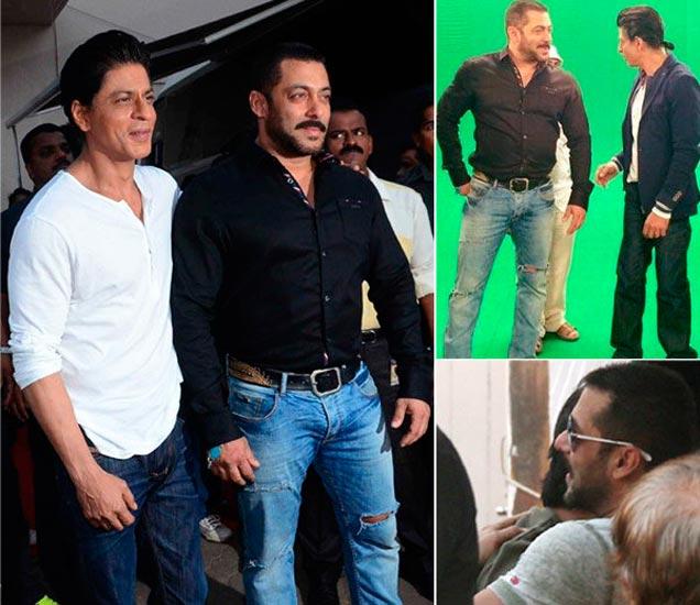 शाहरुख खान आणि सलमान खान (1) मेहबूब स्टुडिओच्या बाहेर (2) क्रोमामध्ये शूटिंग करताना (3) स्टुडिओबाहेर गळाभेट घेताना शाहरुख-सलमान - Divya Marathi