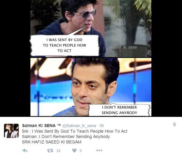सलमान-SRKच्या चाहत्यांमध्ये वाद, शाहरुखला म्हटले 'हाफिज सईद की बेगम'| - Divya Marathi