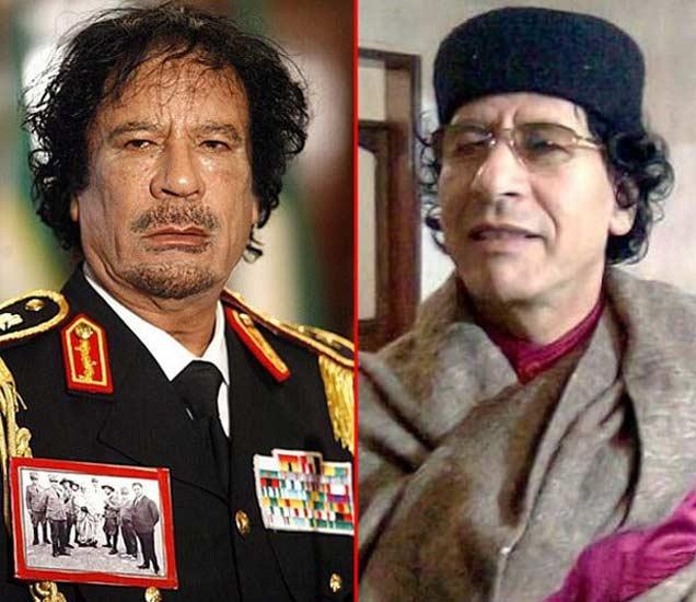 गद्दाफी आणि त्याचा डुप्लिकेट अली माजिद अल अनडैलस. - Divya Marathi