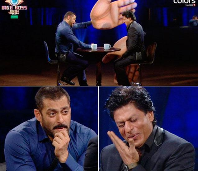 Bigg Boss 9च्या सेटवर सलमान खान आणि शाहरुख खान - Divya Marathi