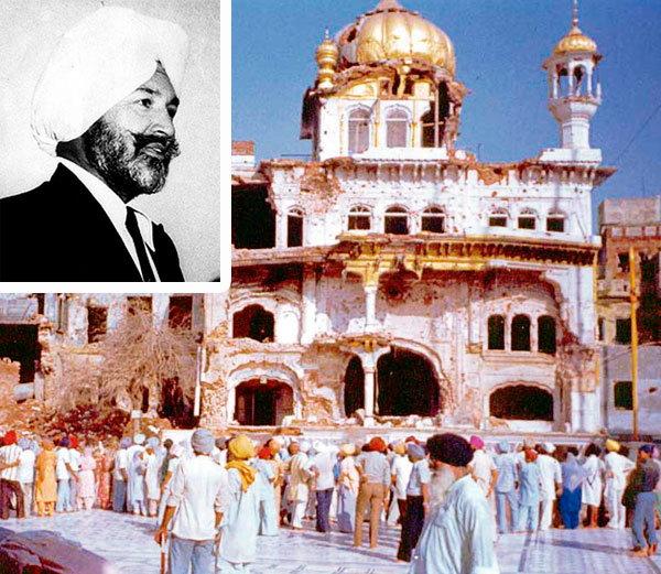 लष्करी कारवाईनंतर अकाल तख्त, इन्सेटमध्ये मेजर जनरल(निवृत्त) शाहबेग सिंह. - Divya Marathi