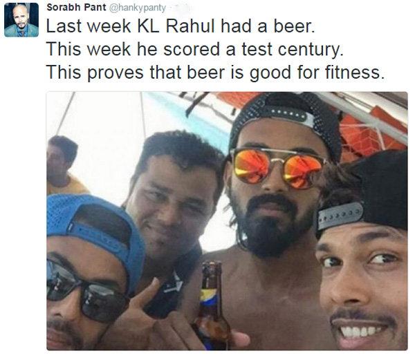 एका फॅन्सने टि्वट करून फिटनेससाठी कधी कधी बियरची उपयोगी ठरते हे राहुलने दाखवून दिले असे म्हटले आहे. - Divya Marathi