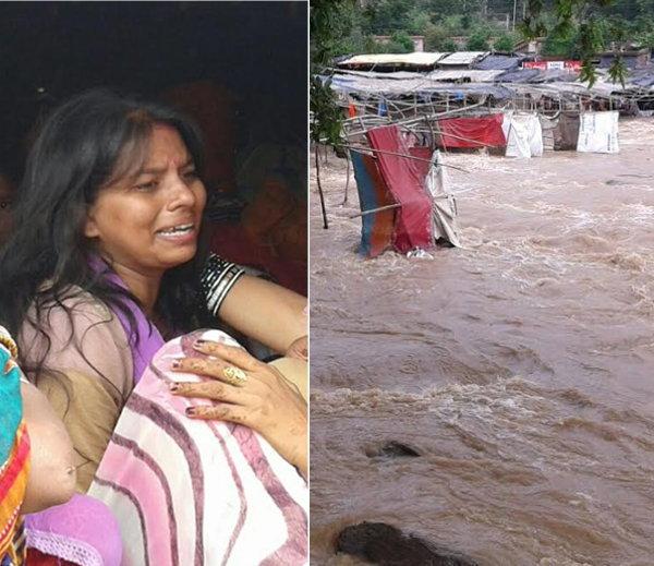 डोळ्यासमोर आई वाहून गेल्यानंतर ओक्साबोक्सी रडताना मुलगी. - Divya Marathi