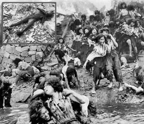 अणूबॉम्ब पडल्यानंतर सर्वत्र जपानी नागरिक पळताना दिसत होते. त्यांचे कपडेही फाटले होते. घालायला दुसरे कपडेही नव्हते. - Divya Marathi