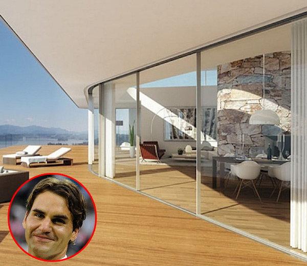ग्लास वॉल हेच रॉजर फेडररच्या घराचे आकर्षण आहे. - Divya Marathi