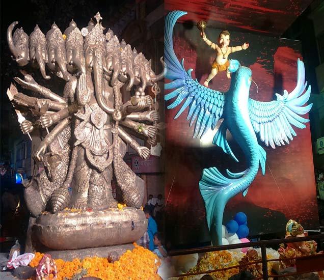 कोल्हापूरात मोठ्या थाटात गणेशोत्सवाच्या मिरवणूकी सुरू आहेत. - Divya Marathi