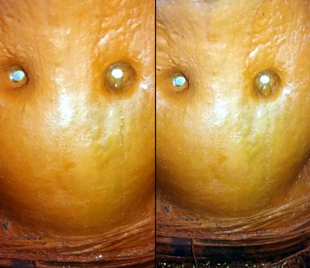 हरदा जिल्ह्यातील हनुमान मूर्तीच्या डोळ्यातून वाहत असलेले अश्रू. - Divya Marathi