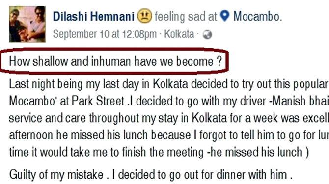 दिलाशीने ड्रायव्हरसोबत घडलेला प्रसंग फेसबुकवर शेअर केला. - Divya Marathi