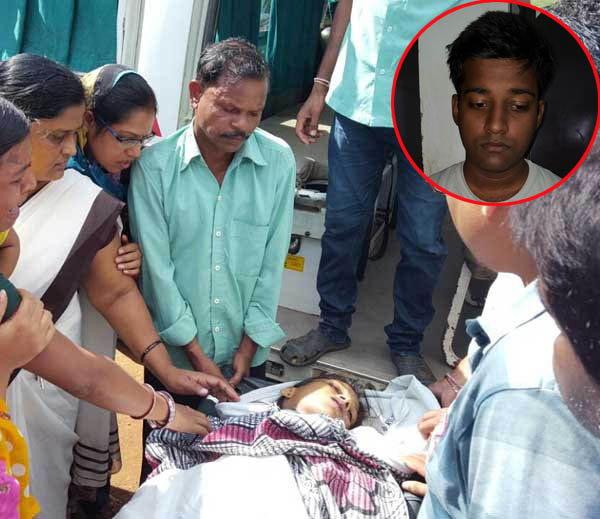 शिवानीचा मृतदेह नेताना कुटुंबातील सदस्य. इन्सेटमध्ये आरोपी सॅमसन. - Divya Marathi