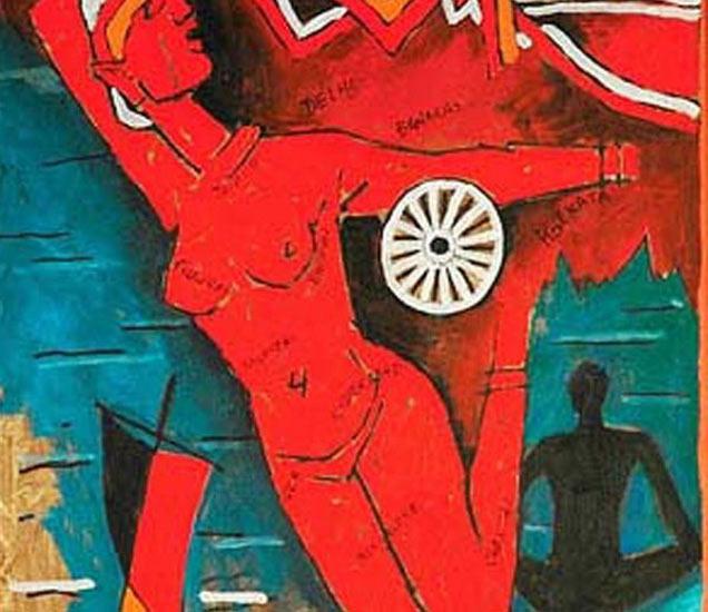 या चित्रात हुसेन यांनी एका नग्न युवतीला भारत मातेेच्या रुपात दाखवले आहे. तिच्या मागे भारताचा नकाशा आहे. - Divya Marathi