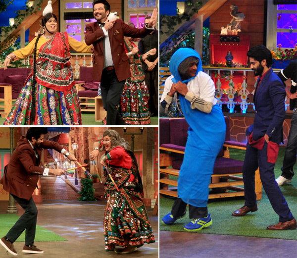 किकू शारदा आणि अली असगर यांच्यासह अनिल कपूर. हर्षवर्धनबरोबर डान्स करताना सुनील ग्रोवर. - Divya Marathi