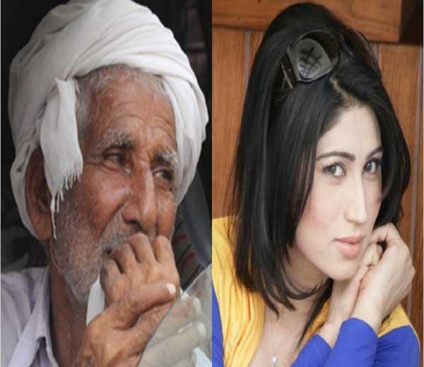 कंदील बलोच व तिचे वडील... - Divya Marathi