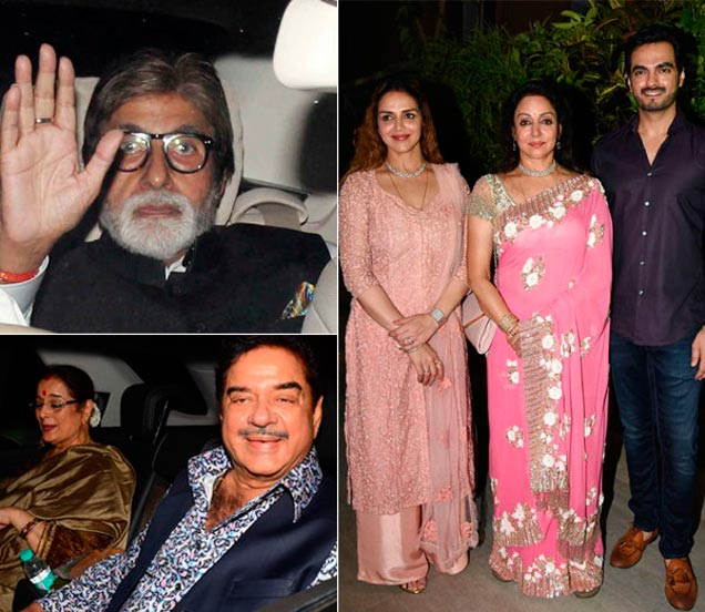 अमिताभ बच्चन, पत्नीसोबत शत्रुघ्न सिन्हा, जावई भरत आणि मुलगी इशासोबत हेमा मालिनी - Divya Marathi