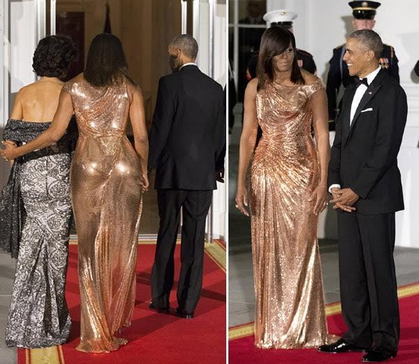 डावीकडून... इटलीतील पंतप्रधानांची पत्नीसमवेत मिशेल ओबामा आणि मिशेलसमवेत ओबामा.... - Divya Marathi