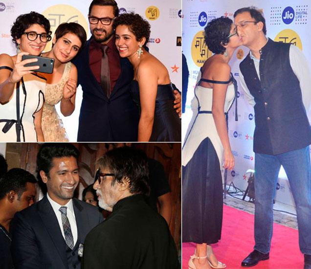 (वर) फातिमा सना शेख, आमिर खान, सान्या मल्होत्रा आणि विधु विनोद चोप्रासोबत किरण राव, (खाली) विक्की कौशल आणि अमिताभ बच्चन - Divya Marathi