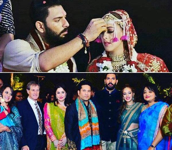 गोव्यातील विवाह सोहळ्यादरम्यान हेजलला कुंकू भरवताना युवराज (वर). दिल्लीत झालेल्या संगीत सेरेमनीत सचिन तेंडुलकर पत्नी अंजलीसह पोहचला होता. (खाली) - Divya Marathi