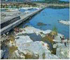 तापी नदीपात्रातील पालिकेच्या बंधाऱ्याची जलपातळी खालावल्याने उन्हाळ्याप्रमाणे स्थिती निर्माण झाली आहे - Divya Marathi