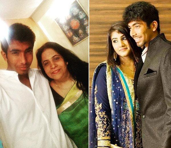 आपली आई दलजीत (डावीकडे) आणि बहिणसमवेत जसप्रीत बुमराह... - Divya Marathi