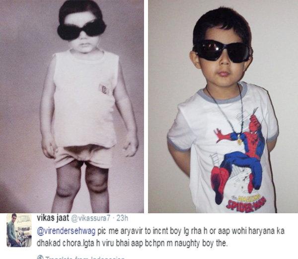 विरेंद्र सेहवागचा लहानपणीचा फोटो (पहिला), मुलगा आर्यवीरचा फोटो (दुसरा) - Divya Marathi