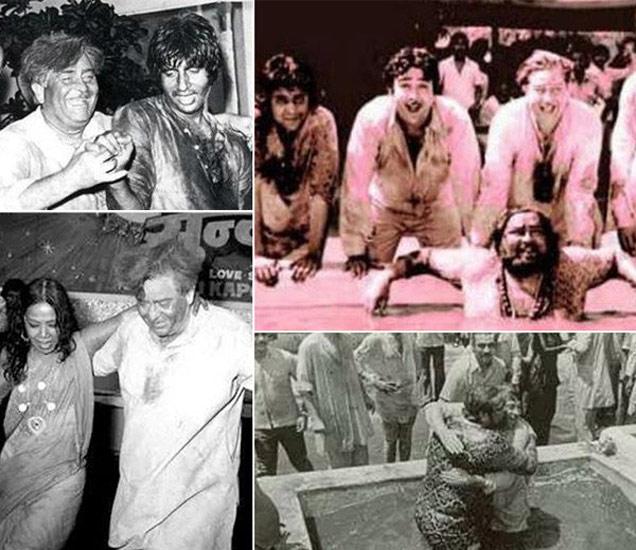 फाइल फोटो : राज कपूर आणि अमिताभ बच्चन, हौदेत शम्मी कपूर, बाहेर उभे राज कपूर, रणधीर, ऋषी आणि अन्य - Divya Marathi