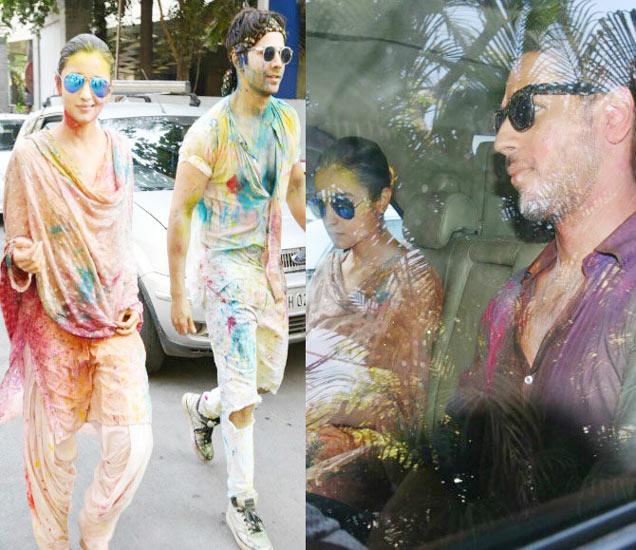 होळीच्या रंगात रंगलेले आलिया-वरुण, दुस-या फोटोत कारमध्ये सिद्धार्थ मल्होत्रासोबत आलिया. - Divya Marathi