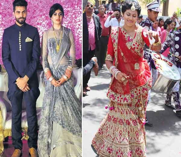 17 एप्रिल रोजी लग्नानंतर झालेल्या वेडिंग रिसेप्शनमध्ये जडेजा आणि रीवाबा. उजवीकडे- लग्नात डान्स करताना जडेजाची बहिण पद्मिनी... - Divya Marathi