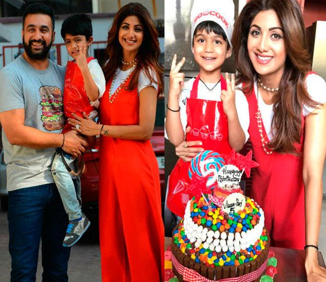 मुलगा वियानसोबत राज कुंद्रा आणि शिल्पा शेट्टी, मुलासोबतचा हा (R) फोटो शिल्पाने शेअर केला आहे. - Divya Marathi