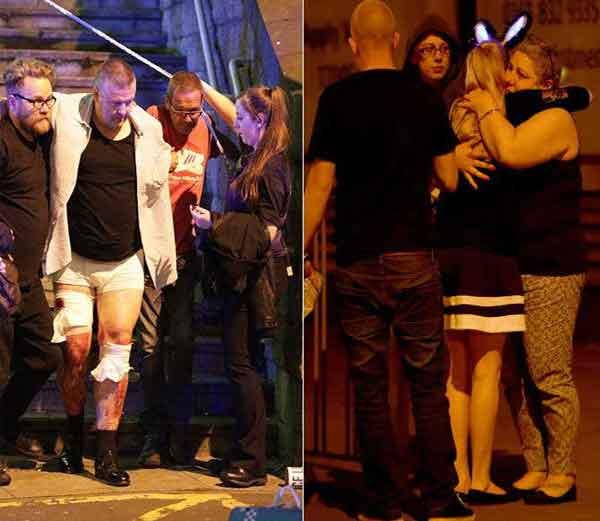 ब्रिटनमधील मँचेस्टर एरिना येथे सोमवारी रात्री पॉप गायिका अरियाना ग्रँडच्या कॉन्सर्टदरम्यान झालेल्या दोन स्फोटात सुमारे २२ जण ठार तर ५० हून अधिक जण जखमी झाले आहेत. - Divya Marathi