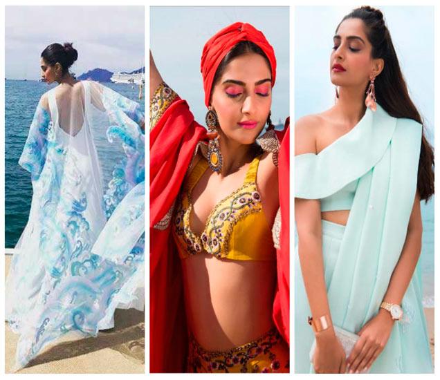 डावीकडून-  अबु जानी-संदीप खोसला, अनामिका खन्ना आणि मसाबा गुप्ता यांच्या डिझायनर ड्रेसमध्ये सोनम - Divya Marathi