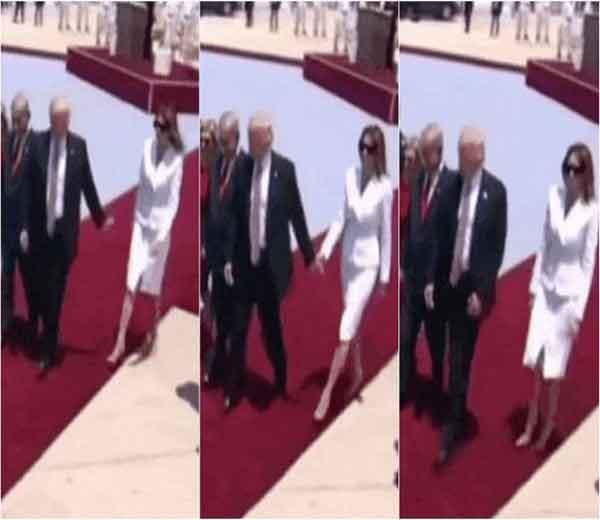 ट्रम्प- मेलानिया यांचा इस्त्रायल दौरा सध्या चर्चेचा विषय बनला आहे. विमानतळावर फर्स्ट लेडी मेलानिया यांनी पती ट्रम्प यांचा हात पकडण्यास दिलेला नकार हे त्याचे कारण ठरले. - Divya Marathi
